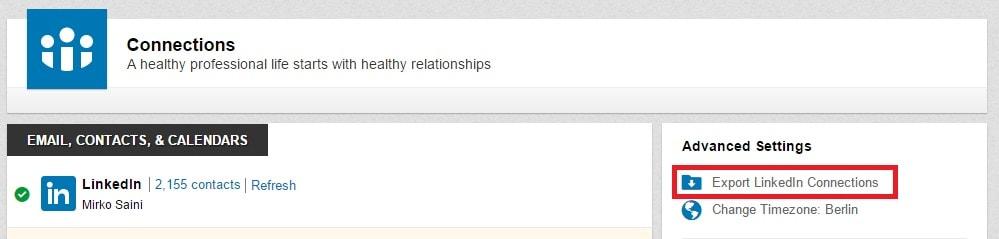 Profilo 05 - Come esportare la lista dei tuoi contatti LinkedIn 03 - Ok-min