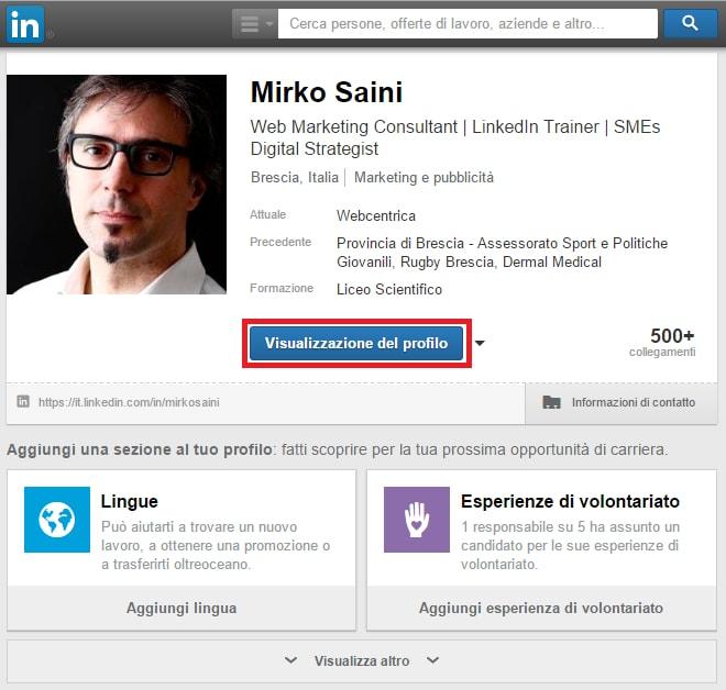 Profilo 07 - come visualizzare il tuo profilo come lo vede un visitatore 01-min
