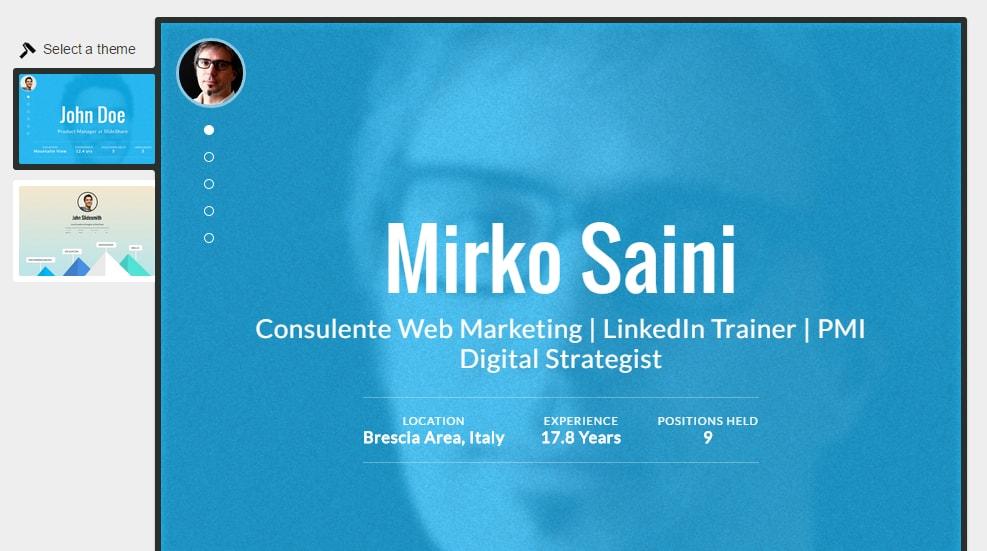 Profilo 13 - come trasformare il profilo in infografica o site onepage 02 min